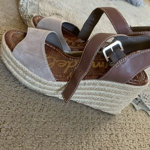 Sam Edelman gray and brown wedges!!!! WORN ONCE